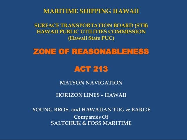 MARITIME SHIPPING HAWAII - ZONE OF REASONABLENESS - ACT 213