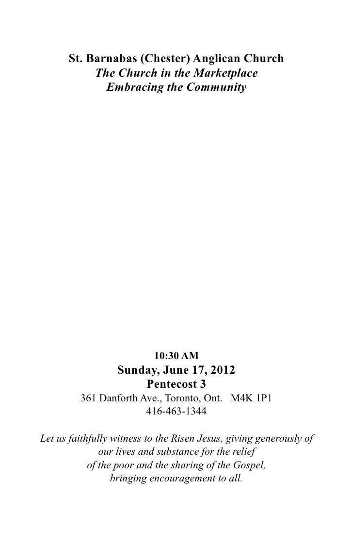 St Barnabas Toronto 17 June2012