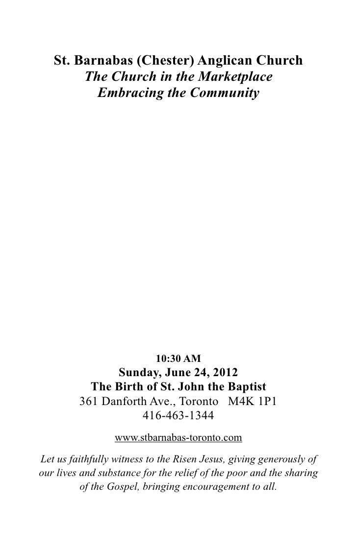 St Barnabas Bulletin - 27 June 2012