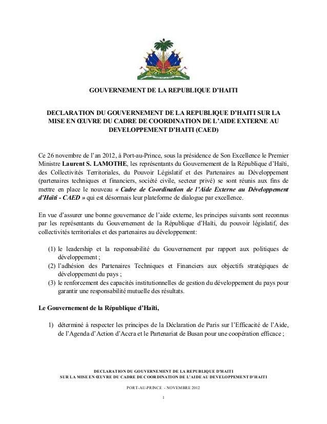 GOUVERNEMENT DE LA REPUBLIQUE D'HAITI       DECLARATION DU GOUVERNEMENT DE LA REPUBLIQUE D'HAITI SU...