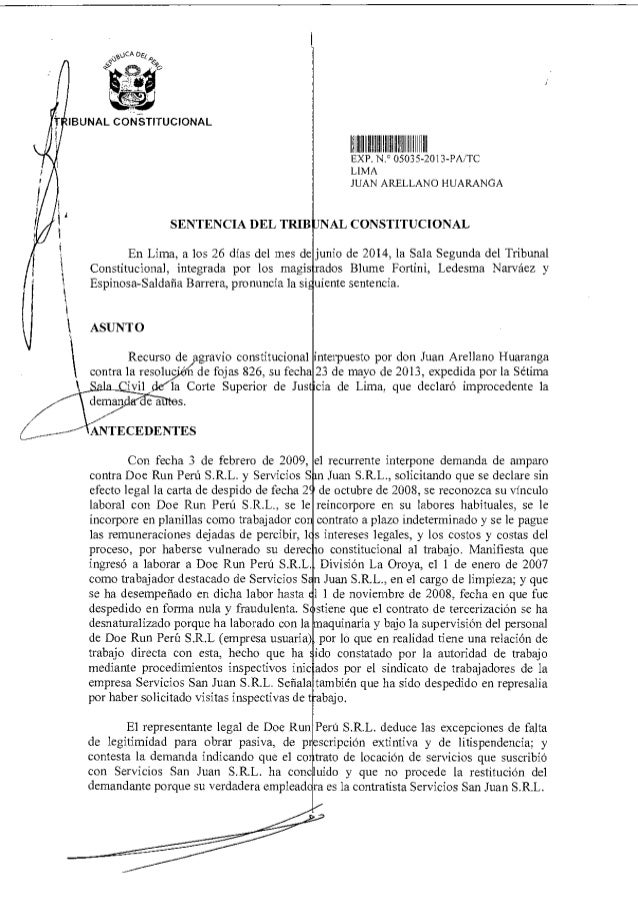 stOCA De¿ 4 0:49° ;LIS IBUNAL CONSTITUCIONAL SENTENCIA DEL TRIB IIII II IIIII III EXP 050,5 2013-PA/TC LIMA JUAN ARELLANO ...