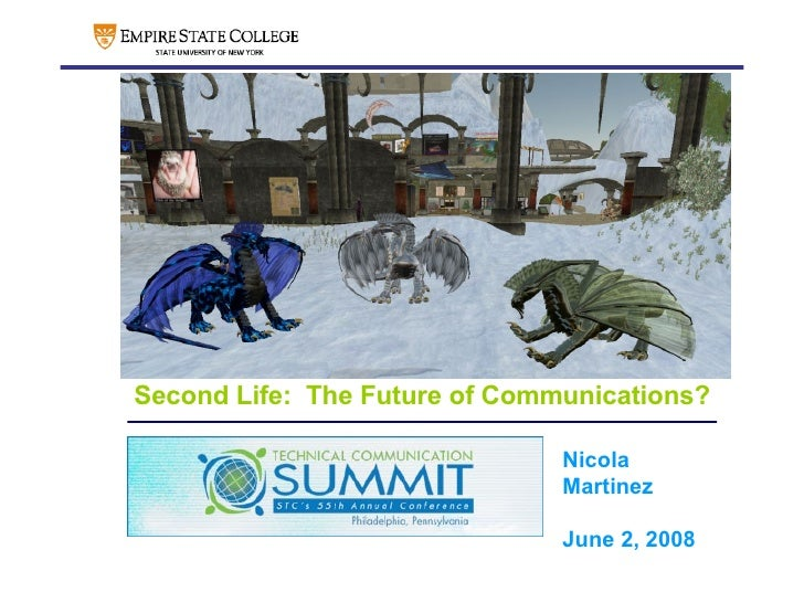 Second Life:  The Future of Communications? <ul><ul><ul><li>Nicola Martinez </li></ul></ul></ul><ul><li>Sloan-C Internatio...
