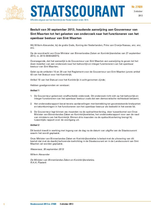 Publication Royal Decree re. Govenor of Sint Maarten's research assignment