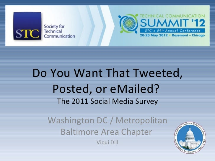 Do You Want That Tweeted,   Posted, or eMailed?    The 2011 Social Media Survey  Washington DC / Metropolitan    Baltimore...