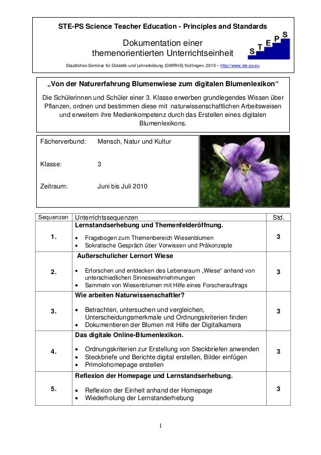 STE-PS Science Teacher Education - Principles and Standards                             Dokumentation einer               ...
