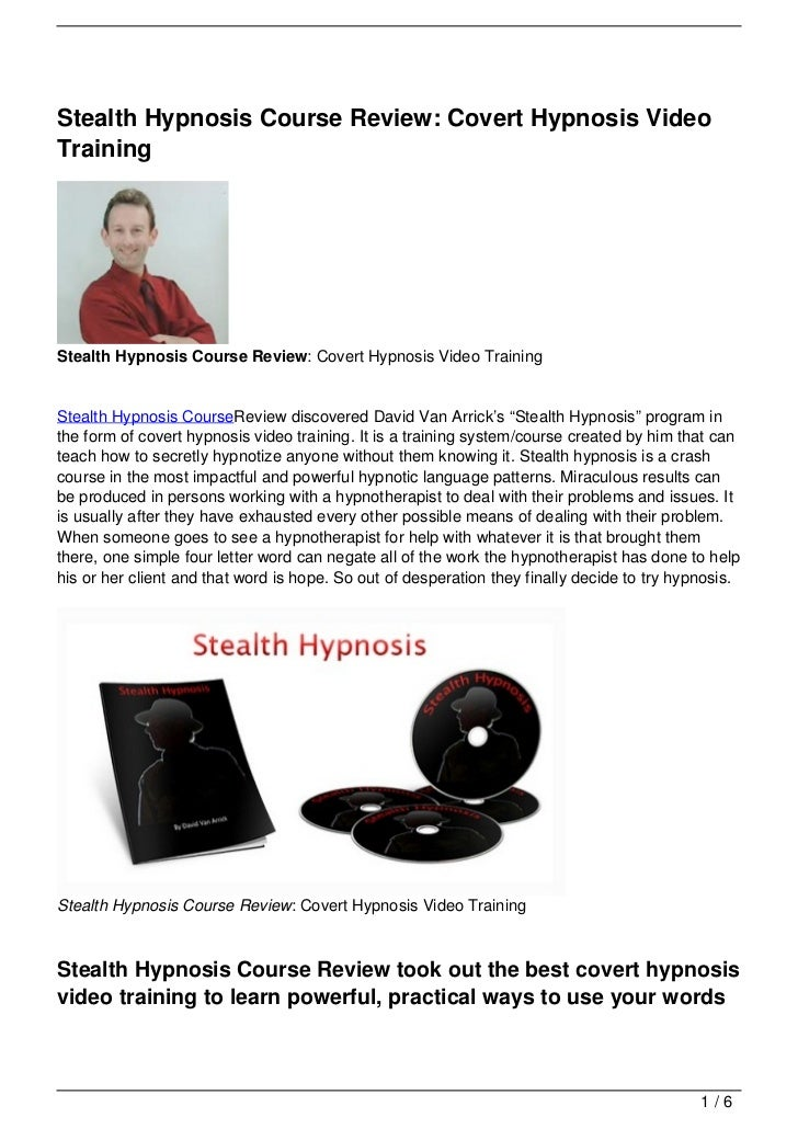 Stealth Hypnosis Course Review: Covert Hypnosis Video Training