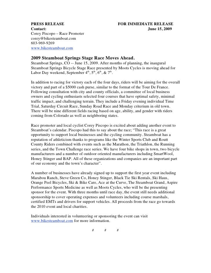 Steamboat Springs Stage Race Press Release