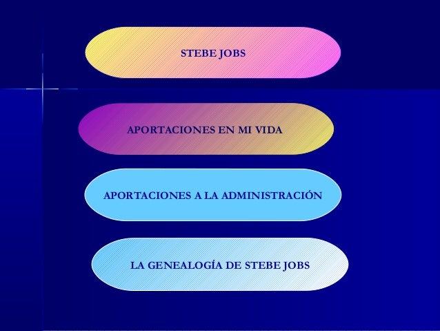 STEBE JOBS   APORTACIONES EN MI VIDAAPORTACIONES A LA ADMINISTRACIÓN   LA GENEALOGÍA DE STEBE JOBS