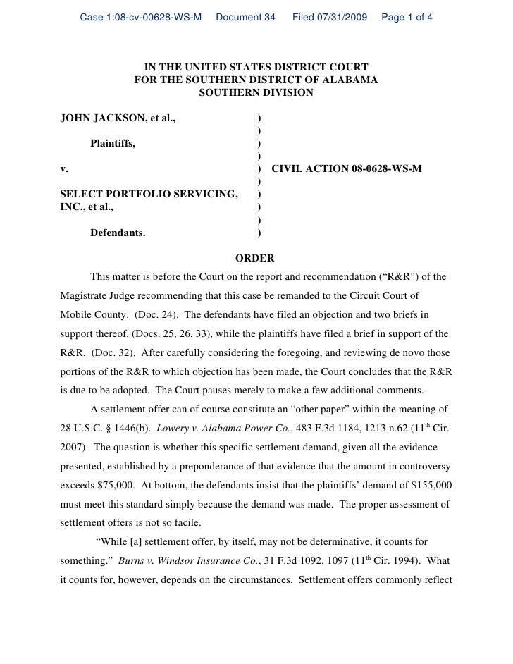 Case 1:08-cv-00628-WS-M          Document 34       Filed 07/31/2009     Page 1 of 4                       IN THE UNITED ST...