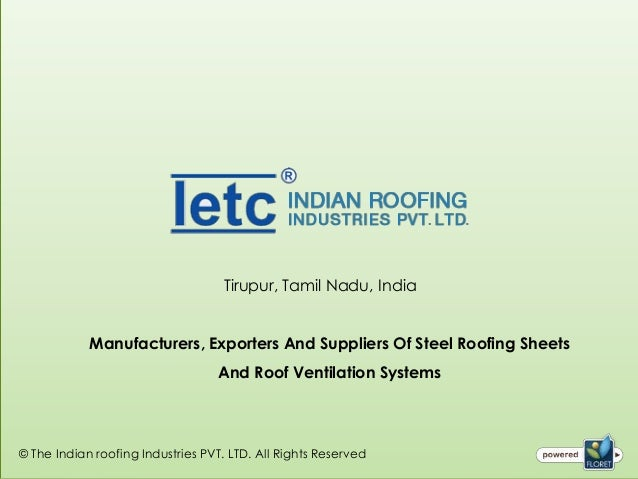 Steel Roofing Sheets Manufacturer From Coimbatore, Tamilnadu, India
