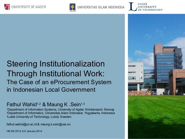 Steering Institutionalization Through Institutional Work: The Case of an eProcurement System in Indonesian Local Governmen...