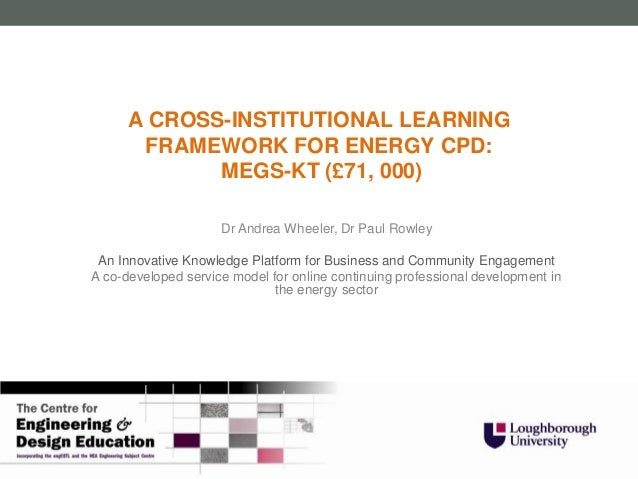 A CROSS-INSTITUTIONAL LEARNING       FRAMEWORK FOR ENERGY CPD:             MEGS-KT (£71, 000)                     Dr Andre...