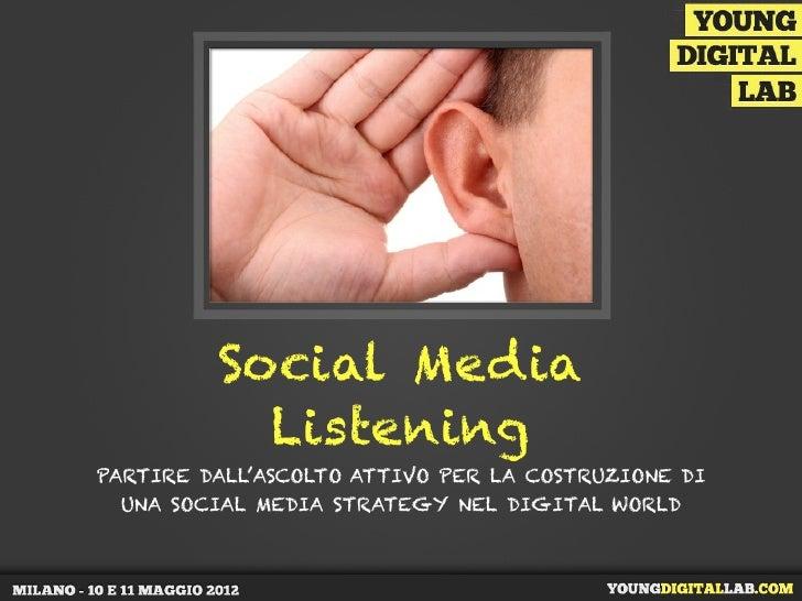 Social Media           ListeningPARTIRE DALL'ASCOLTO ATTIVO PER LA COSTRUZIONE DI UNA SOCIAL MEDIA STRATEGY NEL DIGITAL WO...