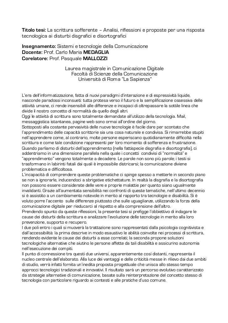 Titolo tesi: La scrittura sofferente – Analisi, riflessioni e proposte per una rispostatecnologica ai disturbi disgrafici ...
