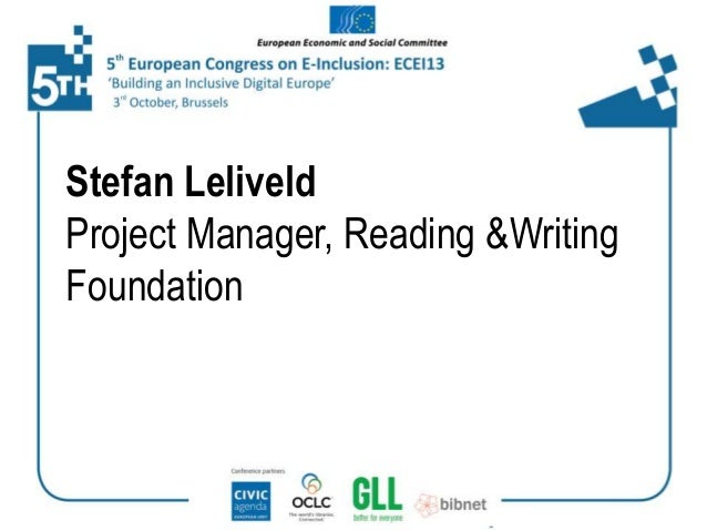Stefan Leliveld Project Manager, Reading &Writing Foundation