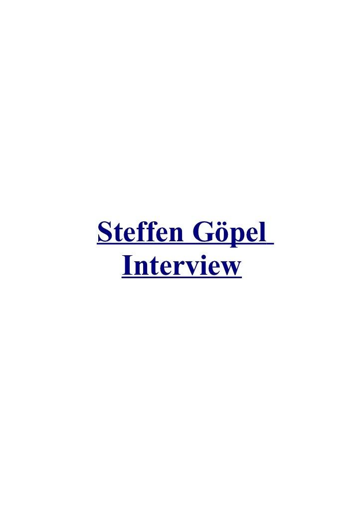 Steffen Göpel  Interview