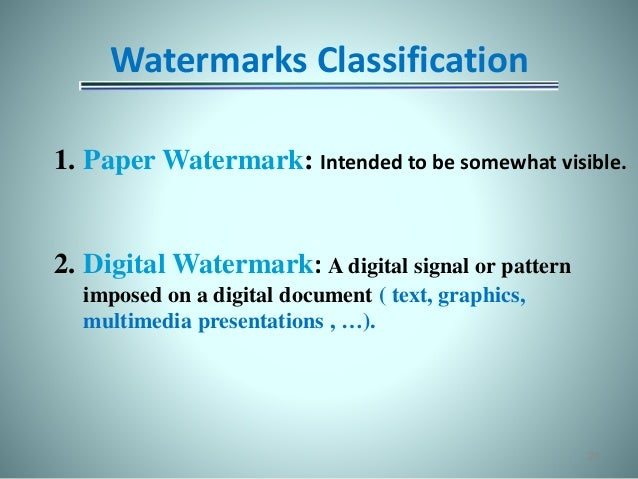 digital watermarking paper presentation Title: digital watermarking for images author: valued sony customer last modified by: valued sony customer created date: 4/13/2005 5:36:41 am document presentation.