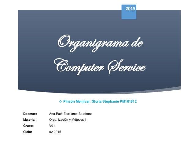Organigrama de Computer Service 2015  Pinzón Menjivar, Gloria Stephanie PM101812 Docente: Ana Ruth Escalante Barahona Mat...