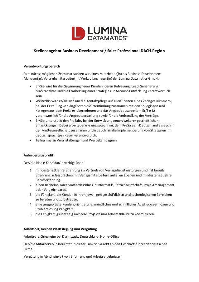 Stellenangebot Business Development / Sales Professional DACH-Region