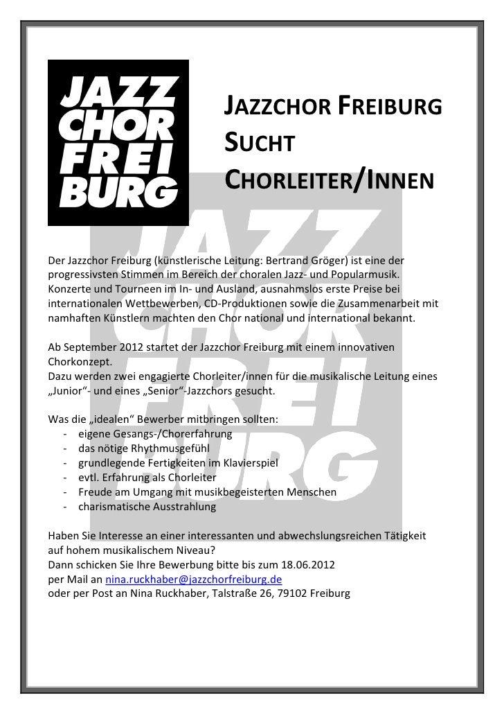 JAZZCHOR FREIBURG                                   SUCHT                                   CHORLEITER/INNENDer Jazzchor F...