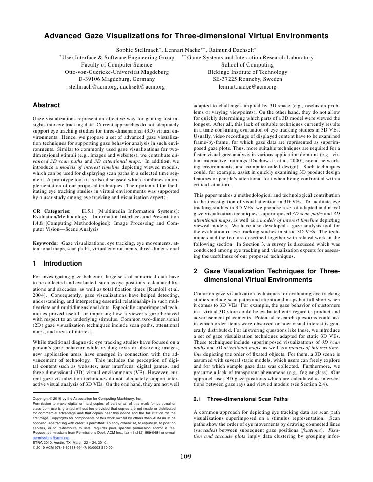 Advanced Gaze Visualizations for Three-dimensional Virtual Environments                                          Sophie St...