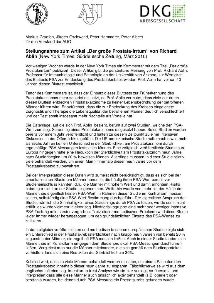 """Markus Graefen, Jürgen Gschwend, Peter Hammerer, Peter Albersfür den Vorstand der AUOStellungnahme zum Artikel """"Der große ..."""