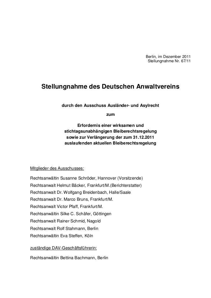 Berlin, im Dezember 2011                                                              Stellungnahme Nr. 67/11      Stellun...