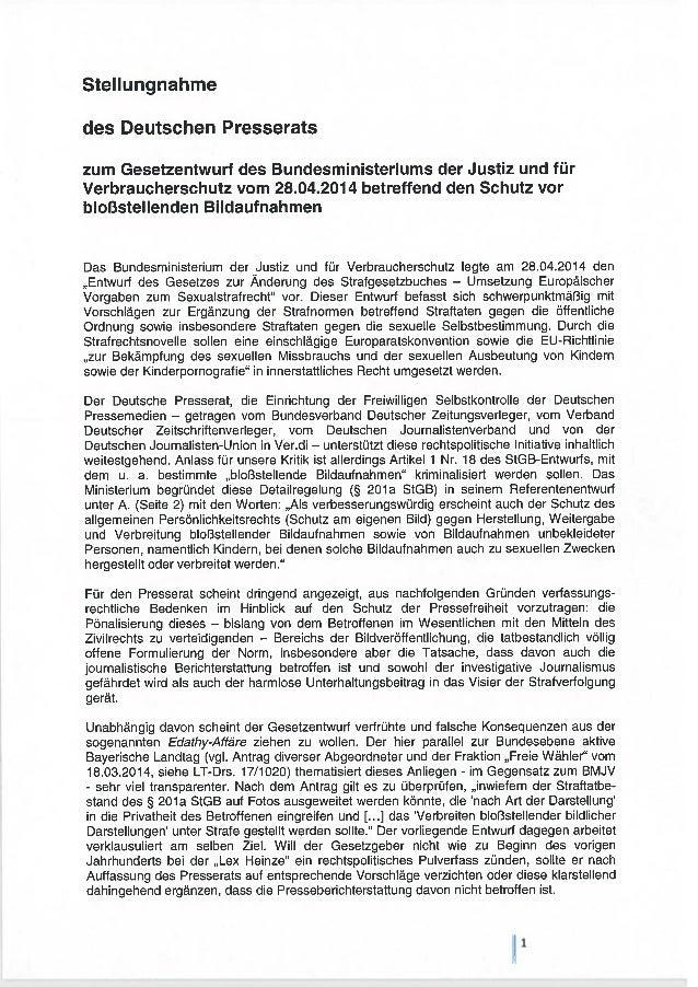 Stellungnahme des DPR zum Gesetzentwurf vom 28.04.2013 betreffend den Schutz vor bloßstellenden Bildaufnahmen