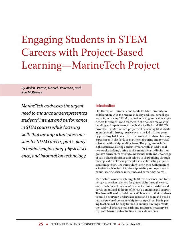  technology and engineering teacher  September 201125 Engaging Students in STEM Careers with Project-Based Learning—Mari...