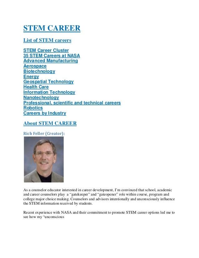 STEM CAREER List of STEM careers STEM Career Cluster 35 STEM Careers at NASA Advanced Manufacturing Aerospace Biotechnolog...
