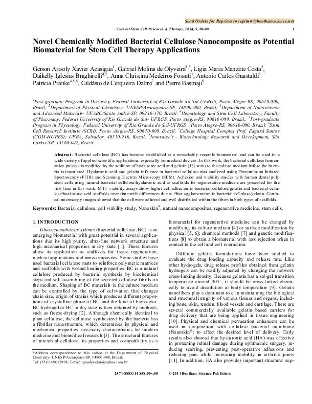 Send Orders for Reprints to reprints@benthamscience.net Current Stem Cell Research & Therapy, 2014, 9, 00-00  1  Novel Che...