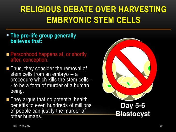 Good argument for opposing embryonic stem cell research?