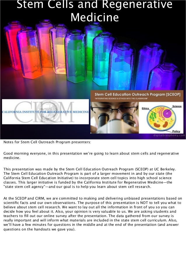 Biotechnology CIRM Stem Cell Lecture