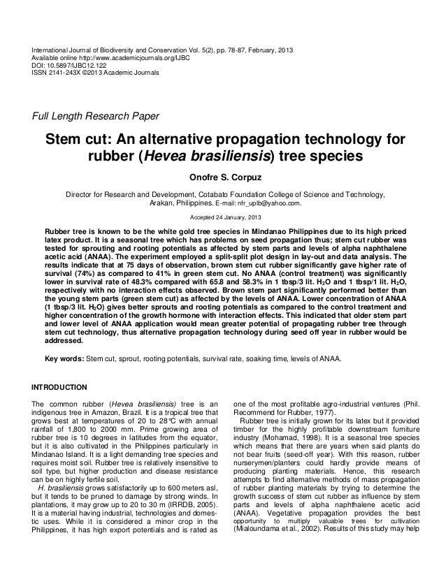 Stem cut: An alternative propagation technology for rubber (Hevea brasiliensis) tree species