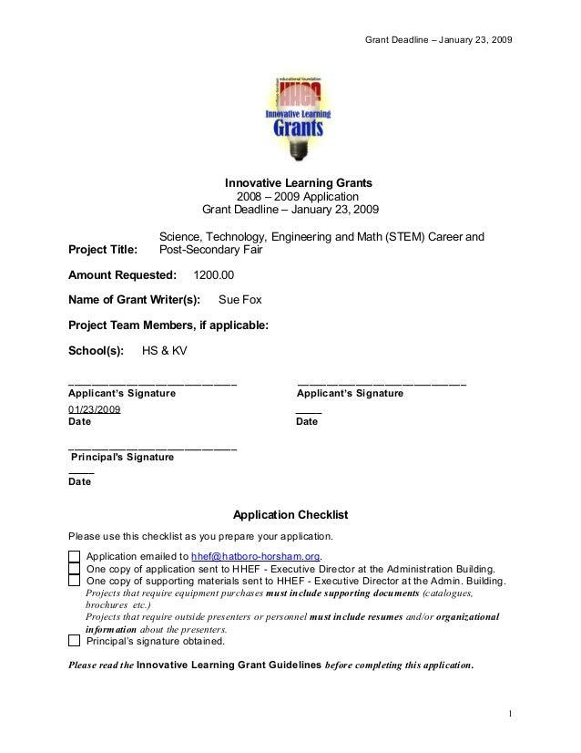 Grant Deadline – January 23, 2009 Innovative Learning Grants 2008 – 2009 Application Grant Deadline – January 23, 2009 Pro...