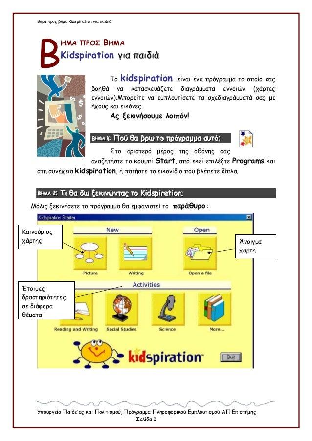 Βήμα προς βήμα Kidspiration για παιδιά Υπουργείο Παιδείας και Πολιτισμού, Πρόγραμμα Πληροφορικού Εμπλουτισμού ΑΠ Επιστήμης...