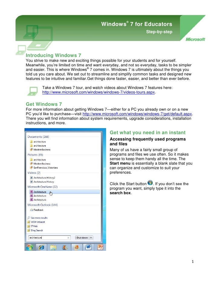 Windows® 7 for EducatorsStep-by-step-901700-914400Windows® 7 for teachers and facultyStep-by-step<br />Introducing Windows...