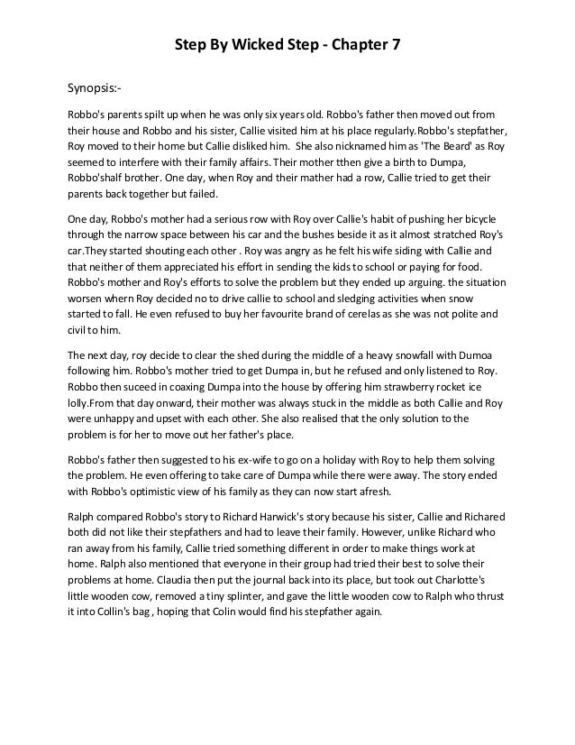 step by wicked step a comparison The wicked step mother essays 999 words mar 3rd, 2013 4 pages show more when i ask you to think about a mother, what do you think of most would think.