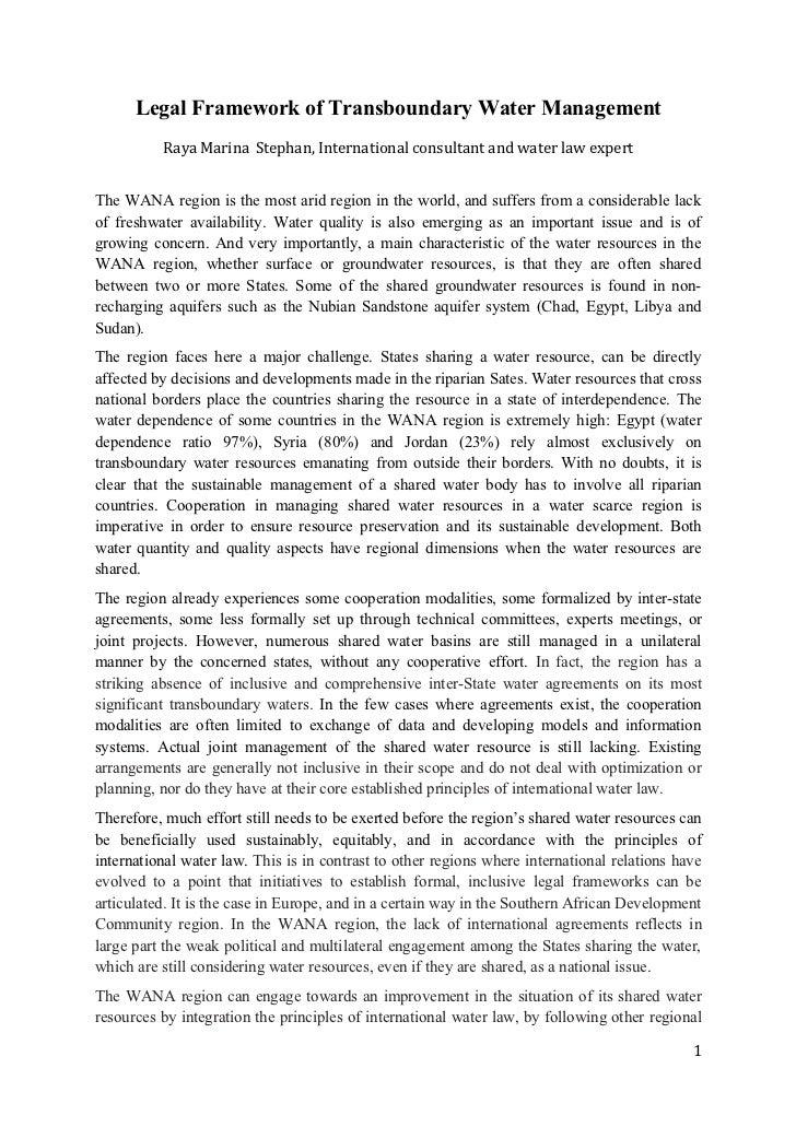 Stephan - Legal Framework of Transboundary Water Management