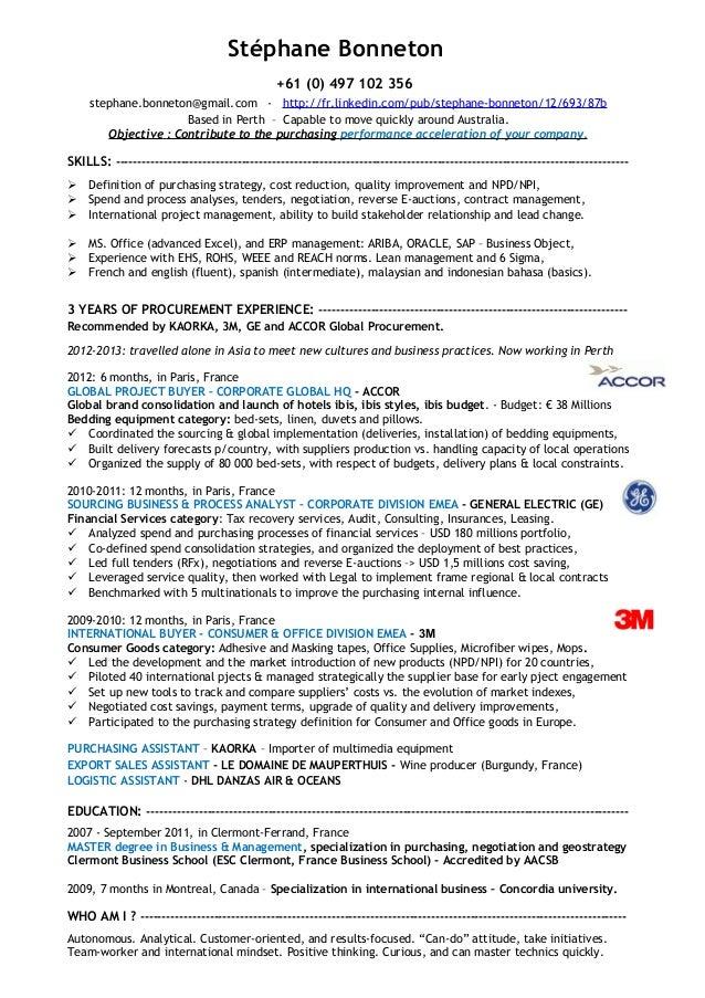 sample procurement resume