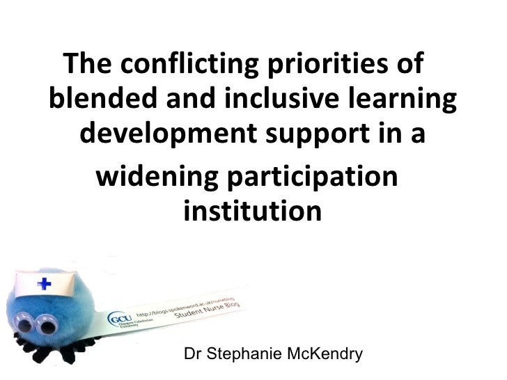 The conflicting priorities ofblended and inclusive learning  development support in a   widening participation          in...