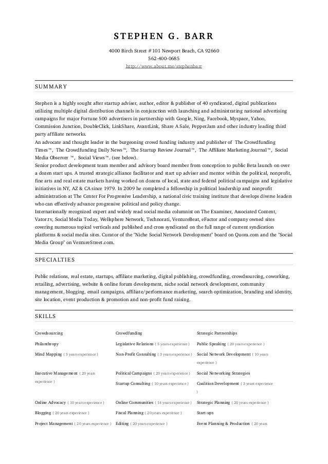 stephen g barr resume 1