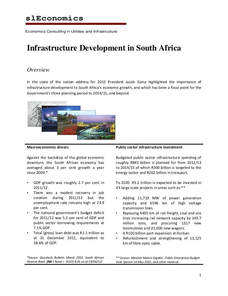 slEconomicsEconomics Consulting in Utilities and InfrastructureInfrastructure Development in South AfricaOverviewIn the st...
