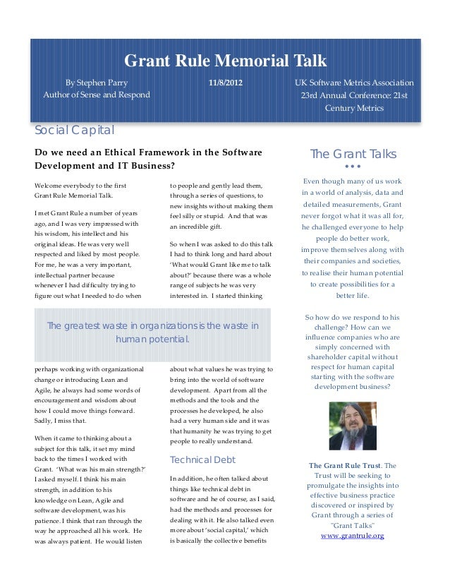 Grant Rule Memorial Talk        By Stephen Parry                                11/8/2012                 UK Software Metr...