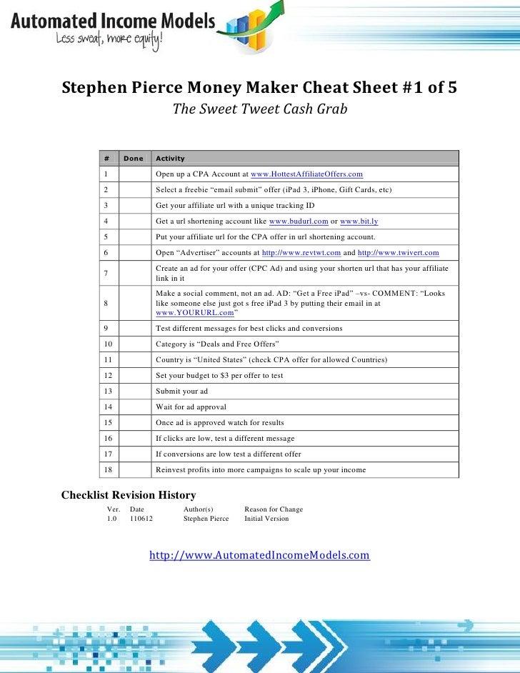 Stephen Pierce Money Maker Cheat Sheet 1 of 5