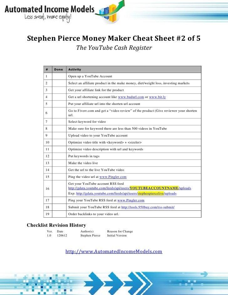 Stephen Pierce Money Maker Cheat Sheet 2 of 5