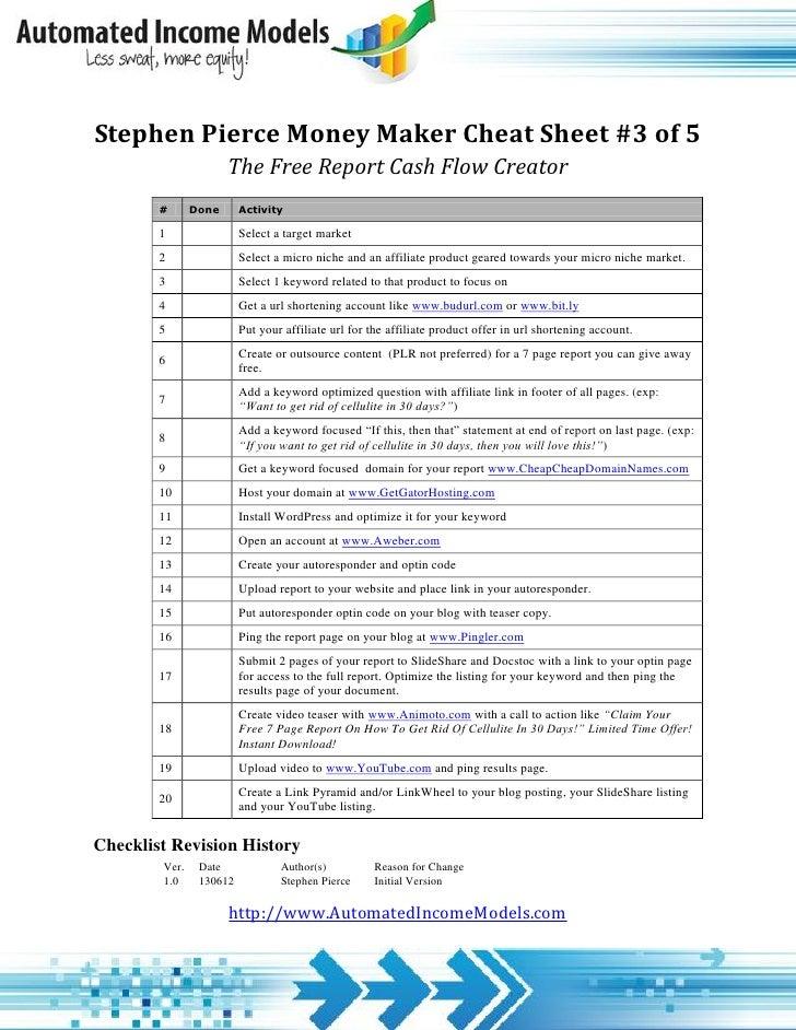 Stephen Pierce Money Maker Cheat Sheet #3 of 5                      The Free Report Cash Flow Creator        #      Done  ...