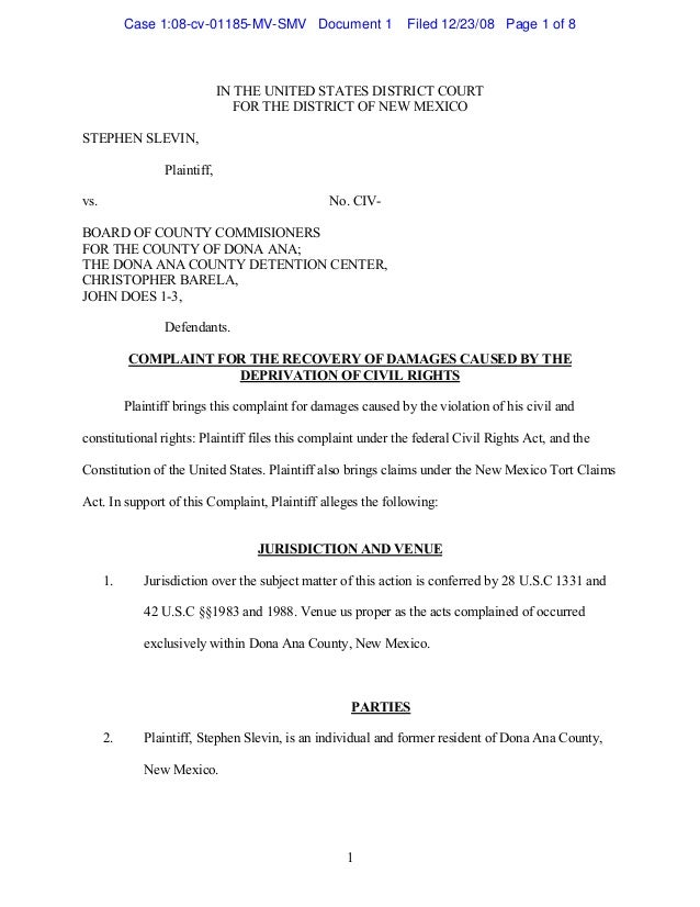 Case 1:08-cv-01185-MV-SMV Document 1                Filed 12/23/08 Page 1 of 8                               IN THE UNITED...