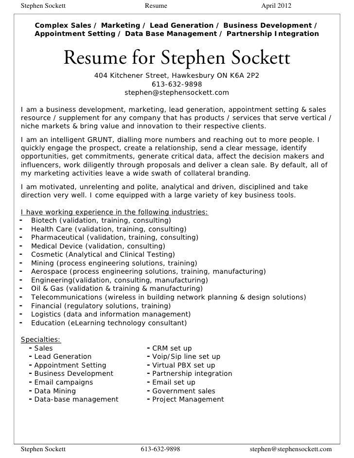 stephen sockett resume 2012