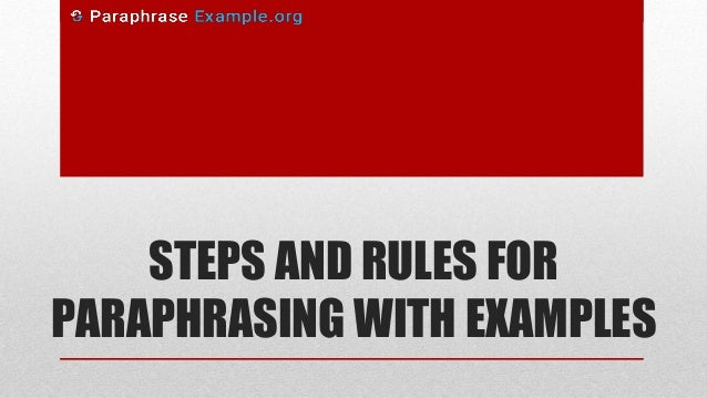 Steps in summarizing and paraphrasing
